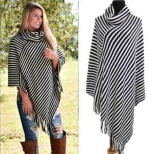 Striped Black & Ivory Poncho